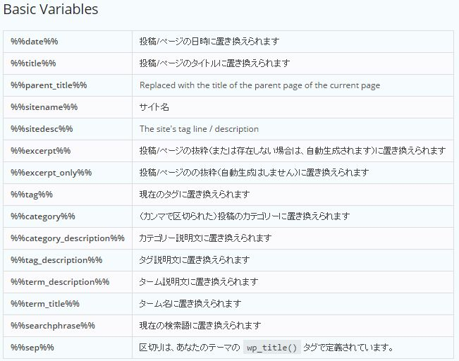 Basic Variables