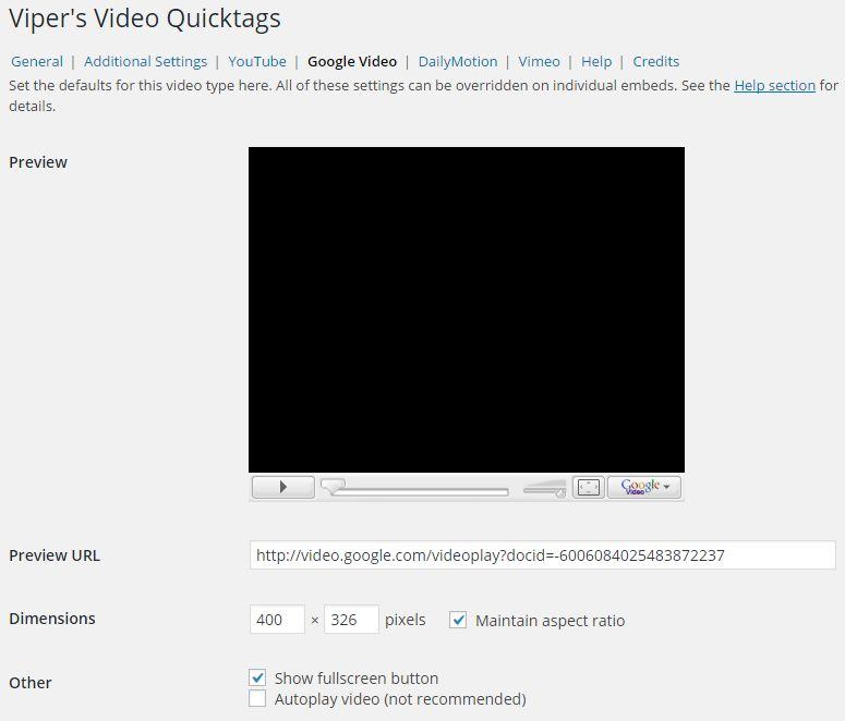 Google Videoタブ設定